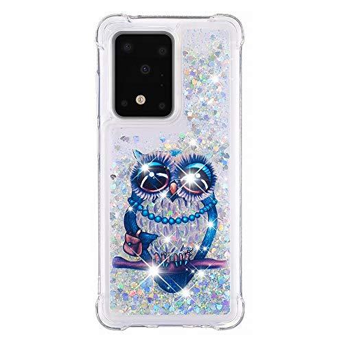 Veapero Kompatibel für Hülle Samsung Galaxy S10 Lite/Samsung A91 Hülle,Quicksand Glitzer Mode kreatives Design Fließende Flüssigkeit schwimmt Funkeln Hülle transparent,Eule