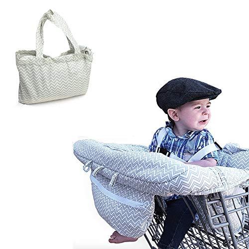 Funda universal para carrito de la compra plegable, para trona y carrito de la compra, con cinturón de seguridad, color gris