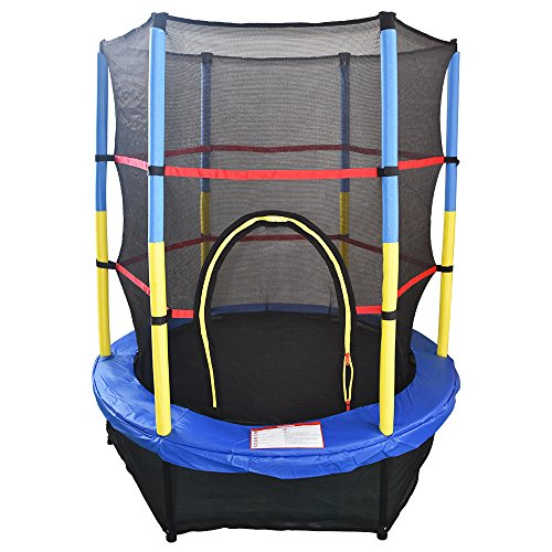 Greenbay 4.5FT 55' Kids Trampoline Complete Set with Safety Net and Skirt Child Indoor Outdoor Activity Blue