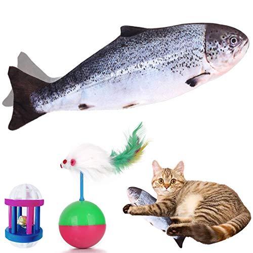 VMOPA Juguete para gato de pescado, juguete eléctrico móvil para gato de peces y gato con carga USB, juguete de peluche interactivo para ejercicio de gato