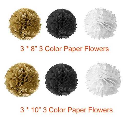 Paxcoo 52 Pcs Black and Gold Party Decorations with Balloons Tissue Pom Poms Tassel Garland for Happy New Year New Year's Eve Party Decorations
