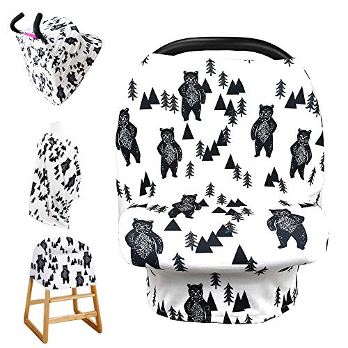 Bear Car seat Canopy for Babies, Car Seat Cover for Boys Girls, CarSeat Canopies for Newborn, Multiuse – Nursing…
