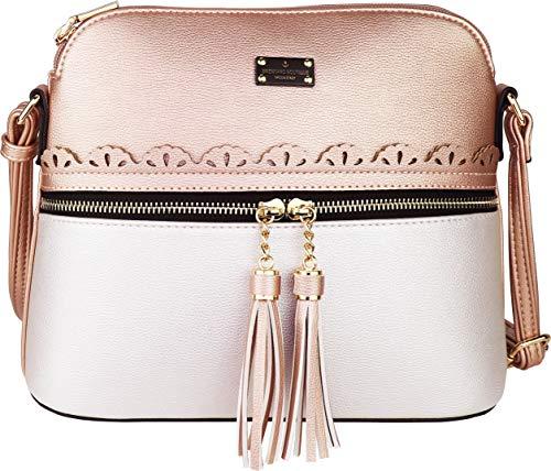 B BRENTANO Vegan Lightweight Crossbody Bag with Tassel Accents Medium (Rose Gold/Pearl)