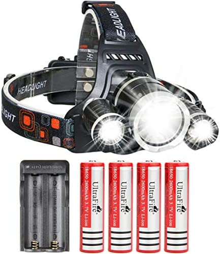 UltraFire LED Rechargeable 18650 Headlamp Flashlight Kit with 4PCS 3 7V Real Capacity 2600mAh product image
