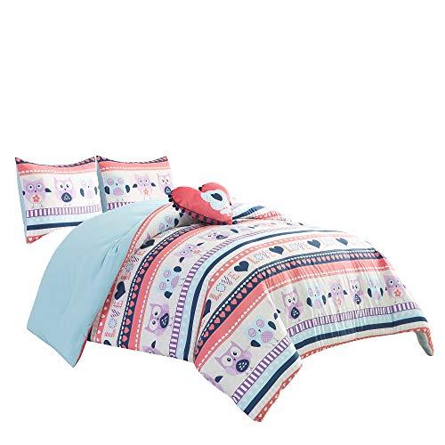 Chezmoi Collection 3-Piece Girls Comforter Bedding Set - Soft Microfiber Multi-Color Owls Love Throw Pillow, Twin