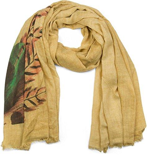 styleBREAKER chal con impresión de plumas en estilo «boho», pañuelo con deshilachados, señora 01017066, color:Camel