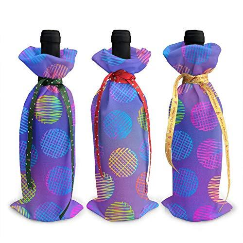Weinflaschen-Abdeckung, 3D, bunt, Kreismuster, Dekoration für Weihnachten, Neujahr, Party, Geburtstag, Abendessen, 3 Stück
