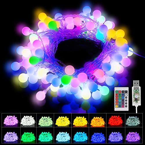 Catena Luminosa, 80 LED Luci Led Colorate Della Palla Stringa, con Telecomando, USB Luci di Natale Esterno, Stringa Luminosa per Interno, Esterno, Albero di Natale,Giardino, Natale, Matrimonio, Feste