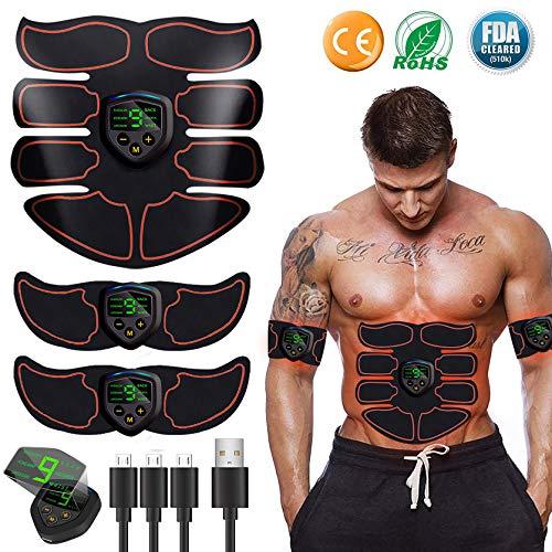 EGEYI Muskelstimulation,EMS Training Muskelstimulator,Elektrisch Gürtel muskelstimulator, Bauchmuskeltrainer Fitness Geräte, Wiederaufladbare Muskeln Trainer Für Männer Frauen Gewicht Abnehmen