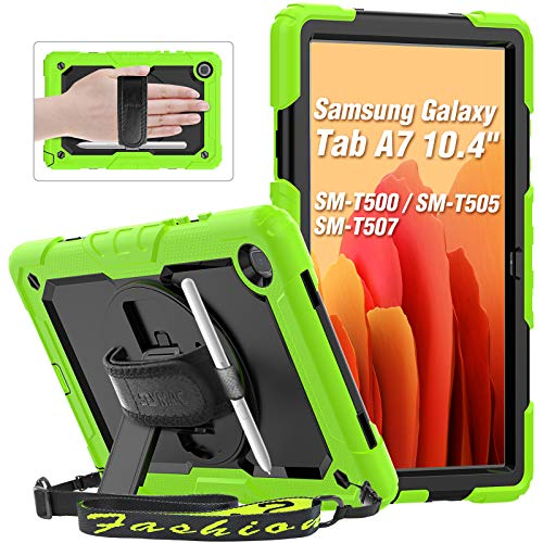 Samsung Tab A7 2020 Case (10.4 Inch), SEYMAC Full-Body Shockproof Case with Built-In Folding Stand, Pencil Holder, Screen Protector, Shoulder Holder, Rotating Hand Strap for Galaxy Tab SM-T500, Green