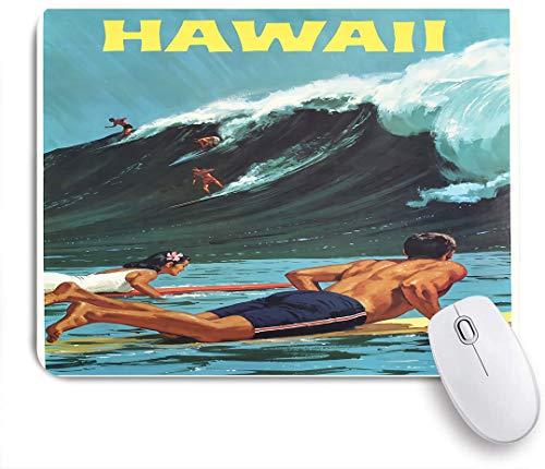 SUHOM Gaming Mouse Pad Rutschfeste Gummibasis,Hawaii Surfing Poster AlyGoo 3D-Druck Lustige benutzerdefinierte Crew Casual Socken,für Computer Laptop Office Desk,240 x 200mm