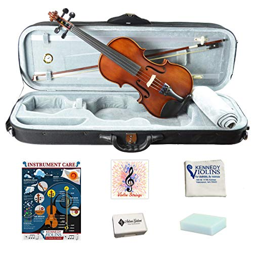 Bunnel Pupil Violin Outfit 1/2 Size Clearance By Kennedy Violins - Carrying Case and Accessories Included - Solid Maple Wood and Ebony Fittings RB300