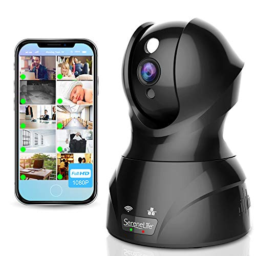 SereneLife Indoor Wireless IP Camera - HD 1080p Network Security Surveillance Home Monitoring w/ Motion Detection, Night Vision, PTZ, 2 Way Audio - iPhone Android Mobile PC WiFi - IPCAMHD82
