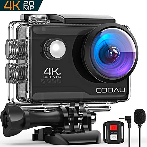 COOAU 4K 20MP Wi-Fi Action Camera External Microphone Remote Control EIS Stabilization Underwater 40M Waterproof Sport Camera Time Lapse with 2X1200mAh Batteries