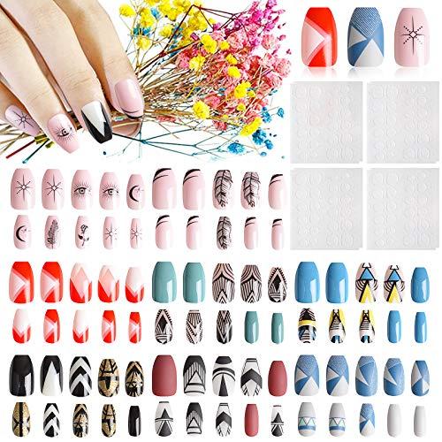 EBANKU Falsche Nägel Set, Volksbräuche Künstliche Nail Tips,192 Stück/8 Schachteln Künstliche Fingernägel Natürliche Falsche Kunst Volles Sarg Nägel Tips für Frauen Mädchen