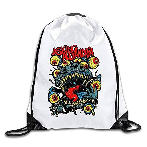 JHUIK Lightweight Foldable Large Capacity Asking Alexandria Denis Stoff Danny Worsnop Drawstring Backpack Sack Bag Travel Casual Durable Shoulder Bag
