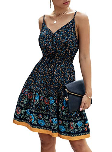 PRETTYGARDEN Women's Floral Sexy V Neck Spaghetti Strap Backless Button Down Sundress Swing Ruffle Summer Mini Short Dress with Belt (Z-Navy, Small)
