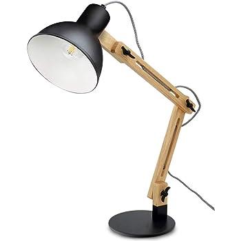 DLLT Wooden Swing Arm Led Desk Lamp, Wood Architect Table Lamp,Pixar Multi-Joint Adjustable Desk Lamp, Task Light for Office Bedroom Dorm Workbench Reading Study Work, Warm Light