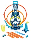 Hot Wheels Track Builder Triple Looping circuit à 3 loopings modulables, petite voiture de course incluse, jouet pour enfant, GLC96