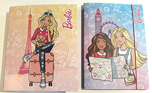 RACCOGLITORE 4 anelli compatibile con Barbie viaggio + CARTELLA con elastico + omaggio portachiave con paillettes