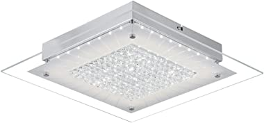 Crystal Close to Ceiling Light Fixtures Auffel Morden LED Flush Mount Lighting 11-Inch Dimmable Square Glass Ceiling Lamp 132