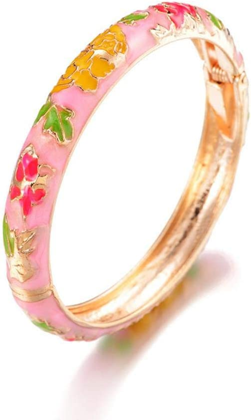 N/D Fine Retro Ethnic Bracelet Cloisonne Gold Hinge Cuff Jewelry Bangle Enameled Peony Flower Hand Ornament for Adult Women Girls Gifts Pink
