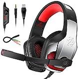Goigrn Cascos Gaming para PS4 Xbox One, Cascos con Microfono Cancelacion de Ruido, Diadema Ajustable...