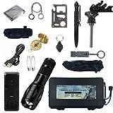 Hichtech Außen Notfall Survival Kit 14 in 1, Selbsthilfe NotÜBerlebens Zubehör Camping Wandern Jagd Fahrzeug Werkzeuge Box Set