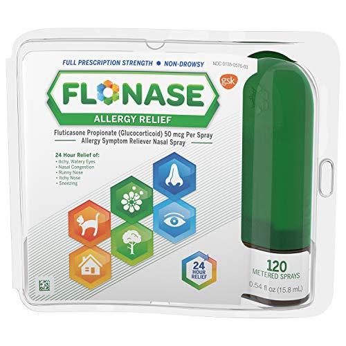Flonase Nasal Spray for Allergy Relief, 24-Hour Non-Drowsy Allergy Medicine, 120 Sprays