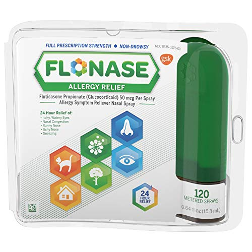 Flonase Allergy Relief Nasal Spray, 24 Hour Non Drowsy Allergy Medicine, Metered Nasal Spray - 120 Sprays