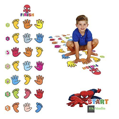 HK Studio Sensory Pathway Floor Decals | Montessori Gym | Hand & Foot Hopscotch Decal for Boosting Gross Motor Skills | Sensory Play, Indoor Active Games