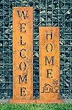 WELCOME + HOME - Edelrost Ständer von SteelTastic  2 er Set  Perfekte Rost Deko für den Garten, Hauseingang oder Terrasse  Premium Qualität ''Made in Germany''