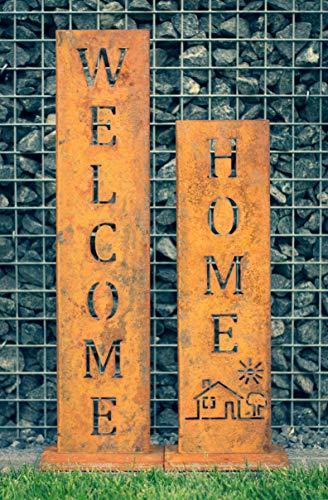 SteelTastic Welcome + Home - Edelrost Ständer 2 er Set - Perfekte Rost Deko für den Garten, Hauseingang oder Terrasse - Premium Qualität Made IN Germany (Metall)