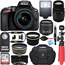 Nikon D5600 24.2MP DX-Format DSLR Camera with AF-P 18-55mm f/3.5-5.6G VR Lens Kit Bundle with 70-300mm f/4-5.6 Lens, 64GB Memory Card, Camera Bag, 55mm 3 Piece Filter Kit and Accessories (10 Items)