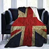 Extra Soft Throw Blankets for Adults Men Women, Vintage UK British Flag Sherpa Flannel Travel Blankets Wearable Throw, Large Blankets for Sofa Couch Winter/Autumn
