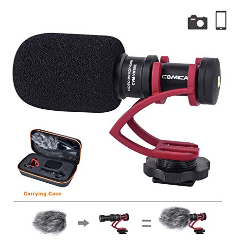 Comica CVM-VM10II Camera Microphone Directional Cardioid Condenser Shotgun Video Microphone for Canon, Nikon, Fuji, Sony, Panasonic, Olympus DSLR Cameras, Smartphones etc.(with Wind Muff)
