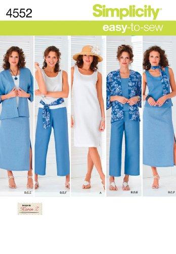 Simplicity 4552 Schnittmuster Damen Übergrößen Sportliche Kleidung, Gr. 36-54