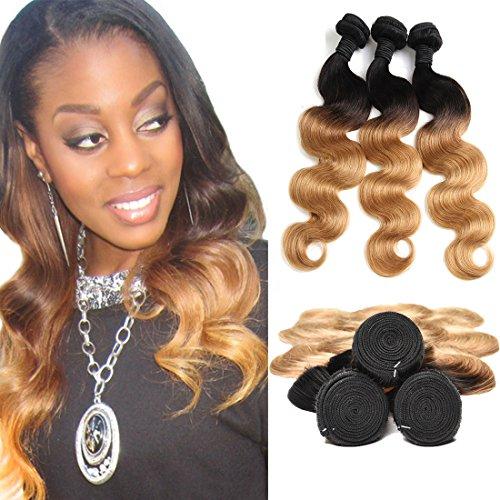 Haare Brasilien Ombre Extensions Echthaar Human Hair Bundles Body Wave 300g Honey Blonde Golden 1b 27 Color on Prime (16 18 20 Inches)
