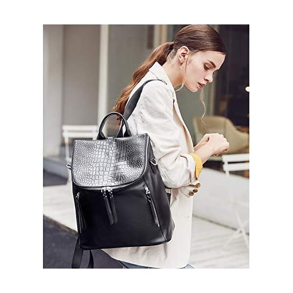 CLUCI Genuine Leather Women Backpack Purse Fashion Large Designer Travel Ladies Shoulder Bag 2
