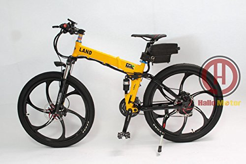 HalloMotor 48V 500W Magnesium Alloy Integral Wheel Ebike Yellow Foldable Frame Electric Bicycle with LCD Display