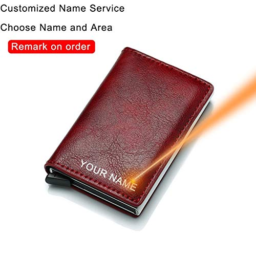Kohlefaser Kartenhalter Brieftaschen Männer RFID Black Magic Trifold Leder Slim Mini Wallet Kleine Geldtasche Männliche Geldbörsen-Red(Name Service)