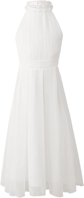 CHICTRY Girls Ruffle Halter Neck Bridesmaid Chiffon Gown Elegant Wedding Flower Girls Dress