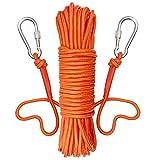 UTOMAG Corde D'aimant de Pêche avec 2 Mousqueton - Corde tressée 20 Mètres – Nylon Haute Résistance Corde Multifonctionnelle, Corde Durable Lourde avec Verrou de Sécurité (Diamètre 8mm, Orange)