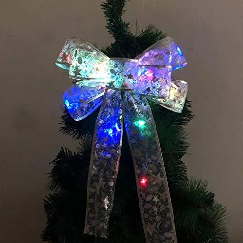 【US STOCK】Led Ribbon Lighting,Snowflake Wired Sheer Glitter Ribbon,Light LED Christmas Tree Ornaments Ribbon Bows for Home Christmas Tree Wreaths Decor (Multicolor )