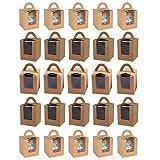 25 Piezas Caja para Tartas con Ventana, Portátil Cupcake Cajas Contenedores, con Inserto y Asas y Ventana de Exhibición de Pvc, para Bodas, Fiestas de Cumpleaños (Marrón)