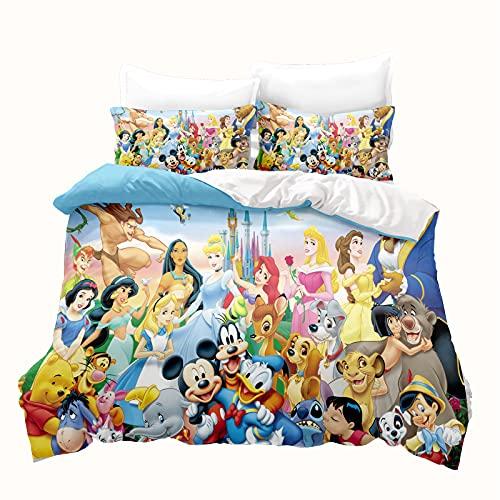LKFFHAVD Disney Princesas – Ropa de cama Rapunzel – Ropa de cama infantil – 135 x 200 cm – Impresión 3D microfibra rosa – Funda nórdica + funda de almohada (200 x 200 cm,6)