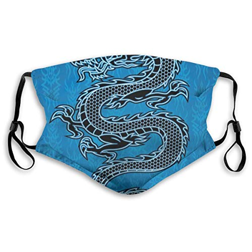 Mundschutz Mund Anti-Staub-Abdeckung,Black Dragon On Blue Tribal Background Year of The Dragon Themed Art,Mouth Cver Wiederverwendbare Fack-Abdeckung,s