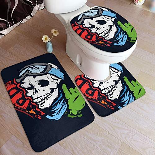 N/B Schedel met Skibril, Snowboard en handschoen Badkamer Tapijt Set 3 Stuk 50×80cm Anti-Skid Pads Badmat + Contour + Toilet Deksel Badkamer Antislip Pad