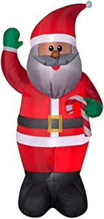 Home Accents Holiday Pre-lit Inflatable African American Santa Claus Ethnic Airblown 6.5 Ft Indoor Outdoor Inflated Christmas Decorations