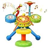 COSTWAY Kinder Trommel Set mit Sitzhocker, Kinder Schlagzeugset mit Lichter, Musikinstrumente Spielzeug inkl. 2 Drumsticks und 1 Mikrofon,...